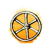 Wheel or Valve, vector sketch illustration — Stock Vector