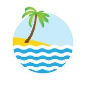 Tropische palm op eiland met zee. — Stockvector
