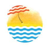 Guarda-sol e mar, logotipo — Fotografia Stock