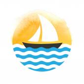 Sailing boat on the water, vector logo — Stockvector