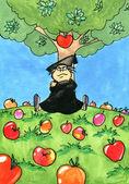 Isaac Newton sitting under an Apple tree — Stock Photo