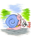 Snail with a steering wheel, slow driver — Foto Stock