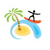 Surfer on the wave, vector logo — Stock vektor