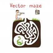Vektor labyrint, labyrint med orm och fakir — Stockvektor