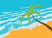 Tropical palm on the beach with sea. — Stock Vector