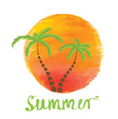 Palm trees against the watercolor sun. Vector logo. — Stock Vector