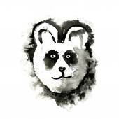Panda, painted ink illustration, isolated on white background. — Stock Vector