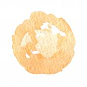 Orange watercolor paint vector circle — Stock Vector
