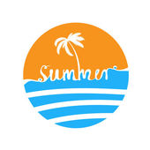 Hand-written word SUMMER, lettering — Stock Vector