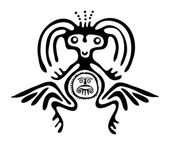 Alien in native style, vector illustration — Stock Vector