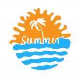 Ručně psané slovo v létě, nápisy — Stock vektor