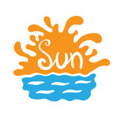 Sunset or sunrise over the water, vector logo — Stock Vector