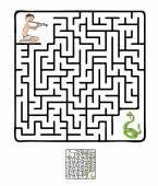 Vector doolhof, labyrint met slang en fakir — Stockvector