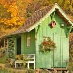 Green Wooden Garden House — Stock Photo #58204499