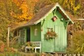 Green Wooden Garden House — Stock Photo