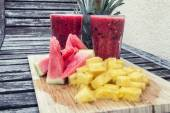 Smoothie of watermelon and pineapple — Stock Photo