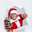 Happy christmas boy giving you a small decorated fir tree — Stock Photo #58734621