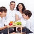 Fresh fruits breakfast for family with kids — Stock Photo #62091033
