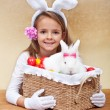 Happy spring girl with easter basket — Stock Photo #66968017