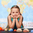 Little girl in elementary science class with her home project — Stock Photo #72783427