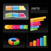 Info-graphic elements on black background. — Stock Vector