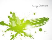 Green abstract brush illustration. Vector art — Stock Vector