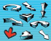 Few pen drown arrows. Vector — Stock Vector