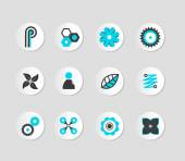 Set of grey and blue icons. Vector — Stock Vector