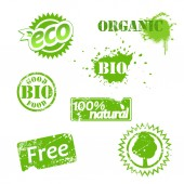 Set of used bio labels. — Stock Vector