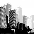 Black and white panorama cities. Vector art — Stock Vector #71730999