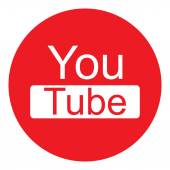 モダンなオリジナル ラウンド Youtube アイコンとテキスト — ストックベクタ