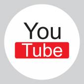 Modern Original Round YouTube Icon with Text — Stock Vector