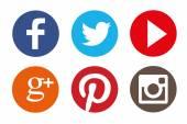 最も人気のある社会的なアイコンの色セット — ストックベクタ