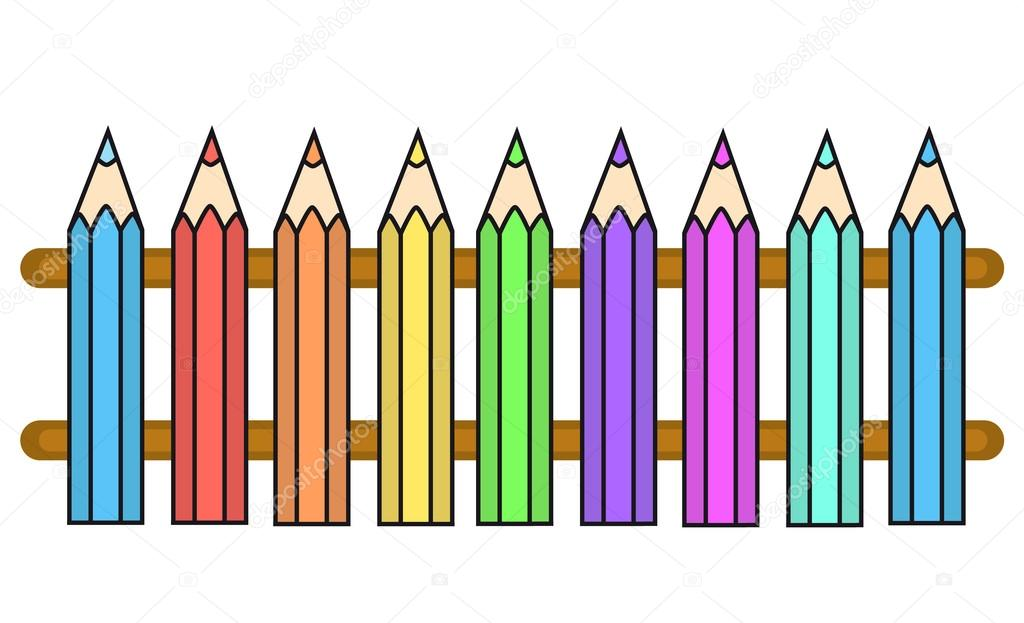 vector color crayons fence stock vector 86062496. Black Bedroom Furniture Sets. Home Design Ideas
