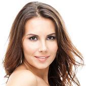 Portrait of beautiful woman, on white — Stock Photo