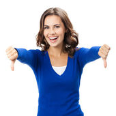 Woman showing thumbs down gesture, isolated — Stock Photo