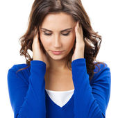 Thinking, tired or ill with headache young woman — Stock Photo