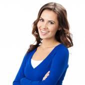 Mutlu genç bir kadın, beyaz üzerinde gülümseyen — Stok fotoğraf