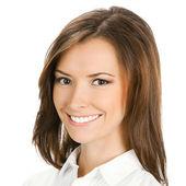Portret van glimlachende zakenvrouw, geïsoleerd — Stockfoto