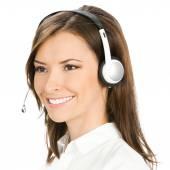 Customer support phone operator, isolated  — Stock Photo