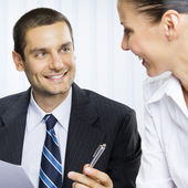 Businessteam or client and businessman, giving pen for signing d — Stock Photo