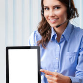 Support phone operator with tablet pc — Stock Photo