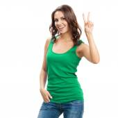 Woman showing two fingers or victory gesture, on white — Stock Photo