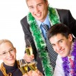 Three happy businesspeople with champagne — Stock Photo #53939035
