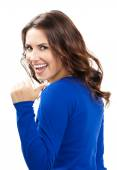 Woman showing thumbs up gesture, isolated — Stock Photo