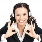 Support operator with okay sign, on white — Stock Photo