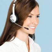 Operador de telefonía apoyo en auricular — Foto de Stock