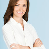 Happy smiling business woman, over grey — Stock Photo