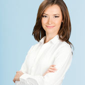 Happy smiling business woman, over blue — Stock Photo