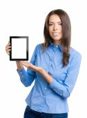 Businesswoman showing blank tablet pc, on white — Stock Photo